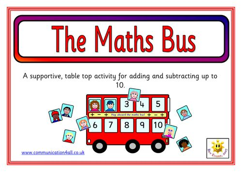 The Maths Bus - A supportive table top activity for addition and subtraction up to 10