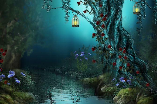 цветы, светильники, ручей, ночь, розы, река, природа, river, красные розы, nature, лампы, лес, night, lamps, фонари, forest, flowers, red roses, roses, fantasy