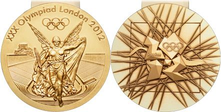 7mm thick, 85mm diameter, 400g weight. The biggest Summer Olympics medals to date. Artist David Watkins says the key symbols on front and back juxtapose the goddess Nike, for the spirit and tradition of the Games, and the River Thames, for the city of London. On the back of the medals is the 2012 branding, representing the modern city as a jewel-like, geological growth. The logo is shown against a 'pick-up-sticks' grid which radiates the energy of athletes and a sense of pulling together.