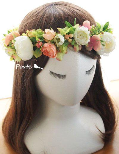 バラと紫陽花の花冠【造花】/ ぽると