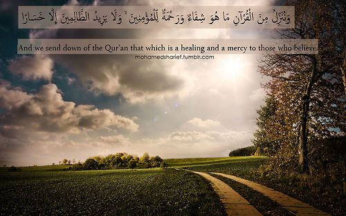 A beautiful Ayah form the Quran.. For those who believe they have the Quran as a source of healing and mercy.