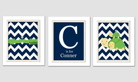 Alligator Nursery, Madras Nursery, Set of 3, 8X10, Personized Nursery on Etsy, $32.00