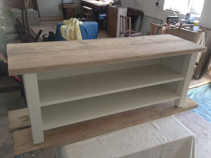 A picture of the TV Unit from the Reclaimed Furniture Range. These reclaimed scaffolding boards are prepared and treated to be aged in look and durable.
