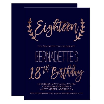 Rose Gold Typography Feathers Navy 18th Birthday Card