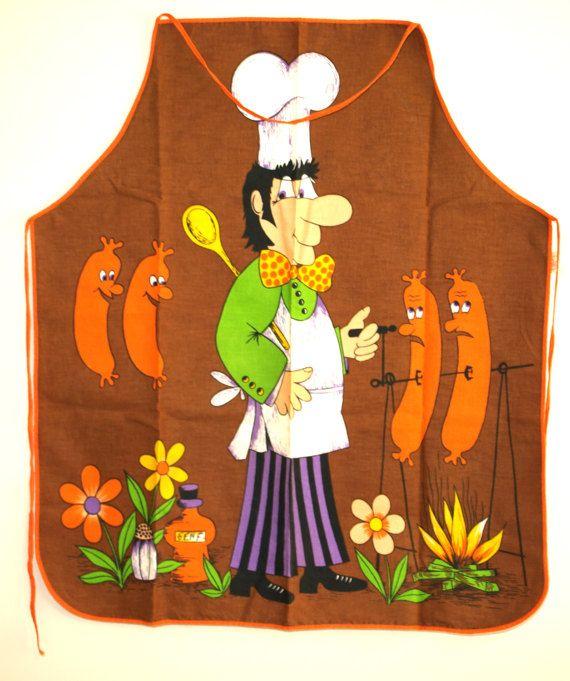 Retro Orange Snag BBQ Chef Apron  Vintage Barbecue by FunkyKoala