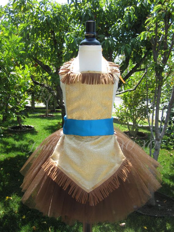 POCAHONTAS inspired Dress Up Costume Apron, Full Apron and Chocolate Brown Tutu.