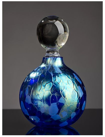 Ship in 2-3 weeks Iridescent cobalt in its truest form,  blown into a round perfume shape. Dimensions: 3.5″H, 2″diameter About the Artist: Bryce Dimitruk