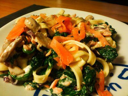 Recept voor spinazie met tagliatelle en zalm. Lekker met wat extra champignons en rode ui. Beetje boursin en philadelphia om het extra romig te maken