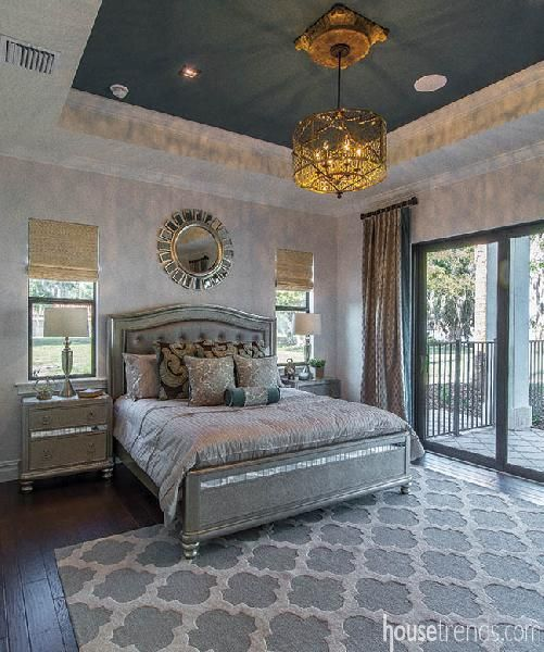 Painted tray ceiling draws the eye