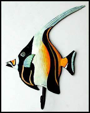 "Moorish Idol - Painted Metal Tropical Fish Bathroom Wall Hook - Decorative Metal Towel Hook Painted metal tropical fish wall hook measures 6"" x 9""."