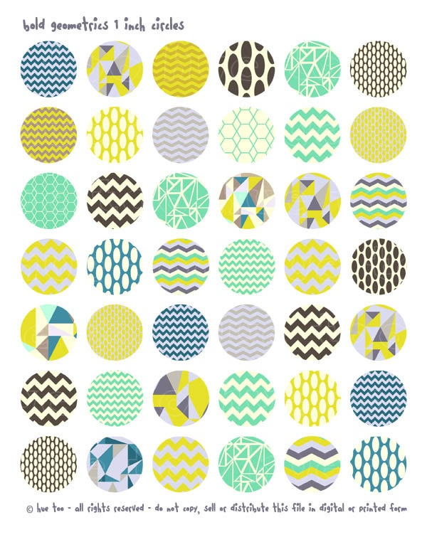 1 inch circles and squares, geometric patterns collage sheet, bottlecap images, triangles for personal use and small commercial use. $3.50, via Etsy.