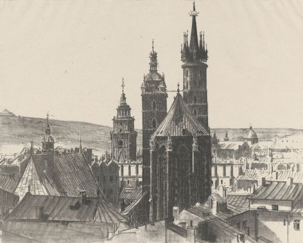 Widok kościoła Mariackiego - Leon Wyczółkowski
