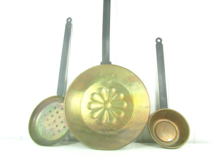 Rustic kitchen, Ladle, Strainer, frying pan, farmhouse kitchen decor, serving pieces, farmhouse, Kitchen Utensil, serving, copper utensil by KarensChicNShabby on Etsy