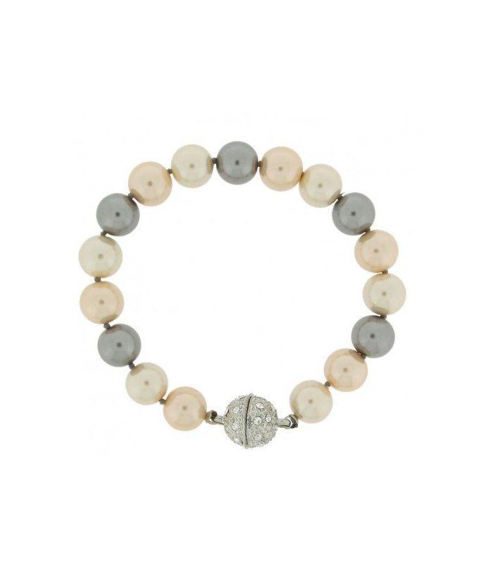Beige Creme hand geknoopte armband van kunstparels en magneetsluiting|Mooie armbanden koop je online | EAN: 0000055420396 | Behave sieraden