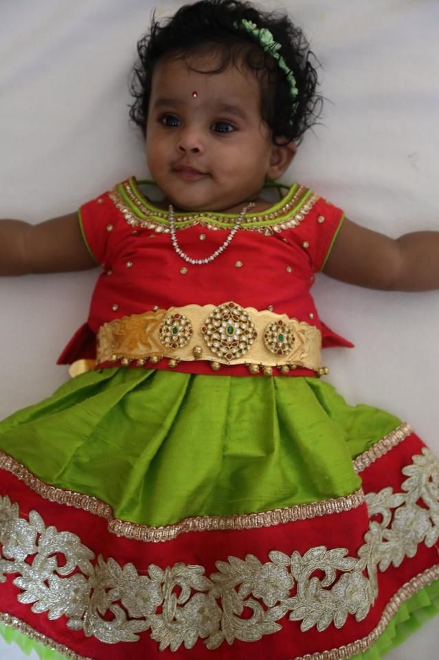 Green and red lehenga for toddlers