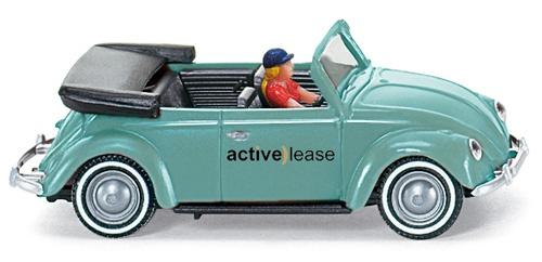 "Wiking Münster Classics -   VW Käfer 1200 Cabriolet ""Münster Classics / active) lease"".   Preis circa: 19,00 EUR  Maßstab: 1:87, Kunststoff  Hersteller: Wiking  Farbe: türkis  Besonderheiten: mit Türdruck, verpackt in ""active lease"" Schachtel"