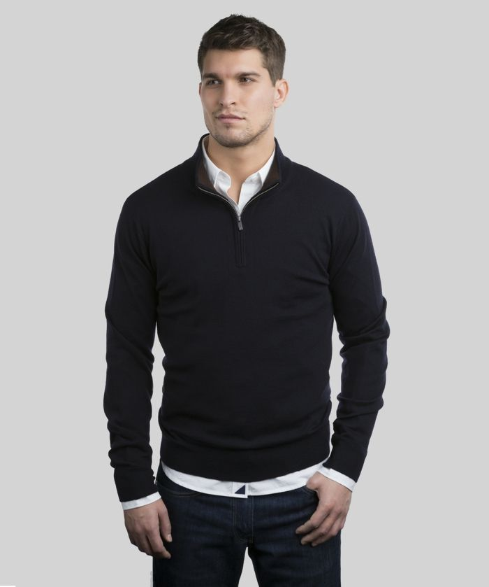 short-haired smiling man, wearing black jumper with zip detail, over whte shirt, casual clothes for men, combined with dark jeans