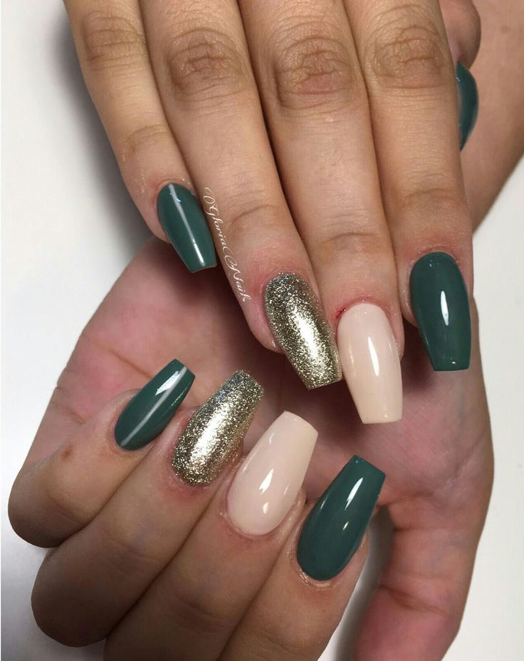Coffin nails + army green + nude