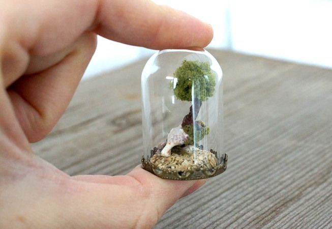 TinyLand #2 – Miniature glass  bottle with green tree inside!!!