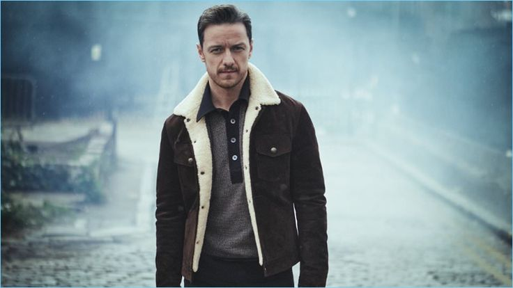 Venturing outdoors, James McAvoy wears Ermenegildo Zegna denim jeans with a shearling-trimmed suede jacket and polo shirt by Tom Ford.