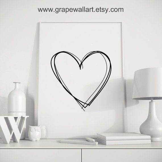 Valentinstag Geschenk Kunst für ihn Herz Schwarz von Grapewallart
