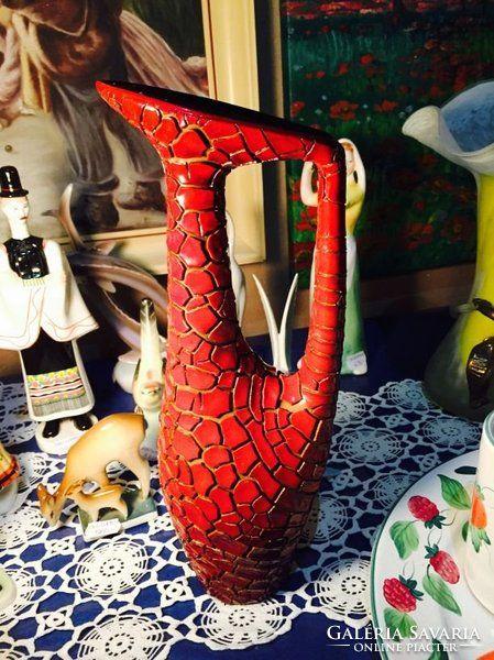 Zsolnay repesztett ökörvér mázas  Török János váza