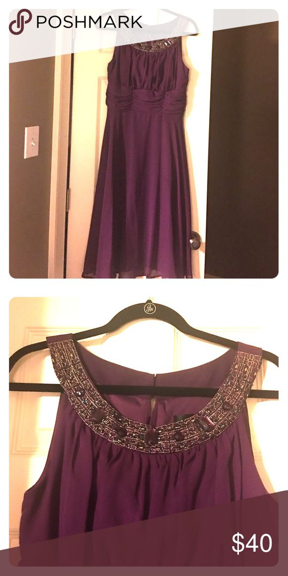 After 5 , semi formal, wedding ready dress Plum after 5 with jewel neckline Dresses