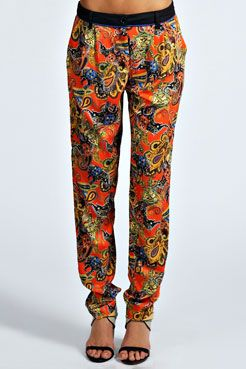 Emilia Paisley Ethnic Print Tapered Leg Trouser at boohoo.com
