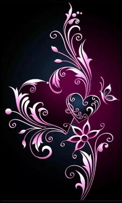 iPhone wallpaper lock screen background hearts and flowers scroll pinks on black design