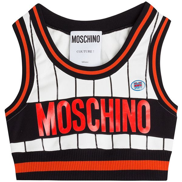 Moschino Cropped Top ($305) ❤ liked on Polyvore featuring tops, crop tops, shirts, multicolor, slim shirt, crop top, logo shirts, red and black shirt and shirts & tops