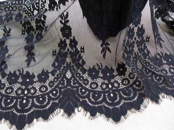 Black Scalloped Lace Fabric, Eyelash Floral Lace Trim, Bridal Lace Shrug Lace Bolero