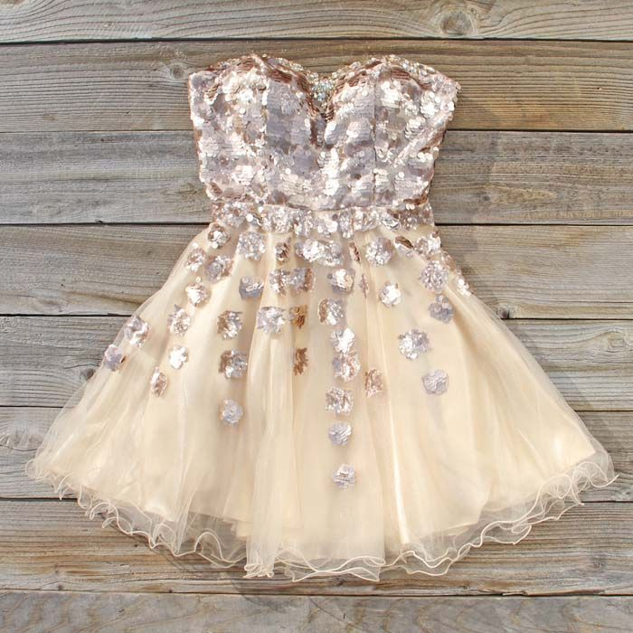 Spool Couture Golden Goddess Dress, Sweet Womens Party Dresses