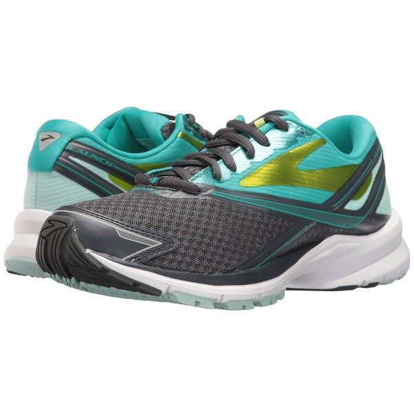 Brooks Launch 4 (Anthracite/Ceramic/Lime Punch) Women's Running Shoes (€90) ❤ liked on Polyvore featuring shoes, athletic shoes, breathable shoes, brooks shoes, lime green running shoes, lightweight running shoes and cushioned running shoes