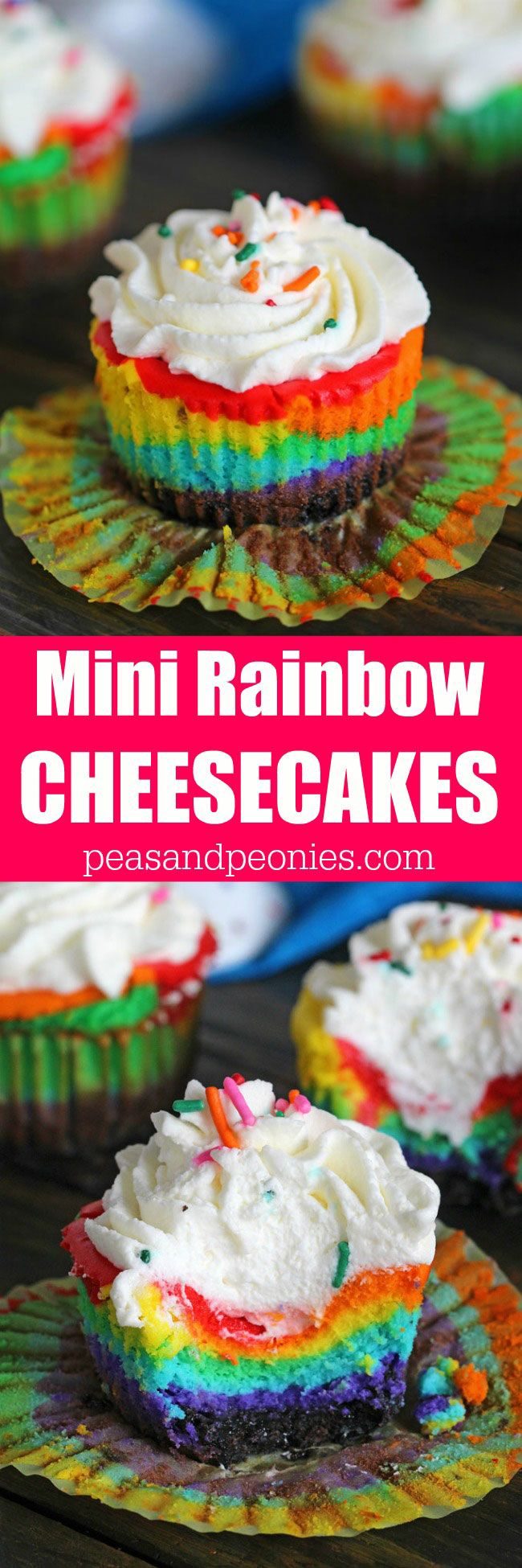 Mini Rainbow Cheesecakes are incredibly easy to make and very festive. They taste delicious and would be a fun project to do with the kids.