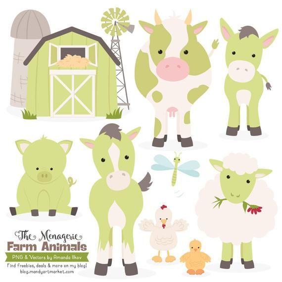 Premium Green Farm Animals Clip Art Vectors In Bamboo Farm Etsy In 2021 Farm Animals Chicken Clip Art Animal Clipart