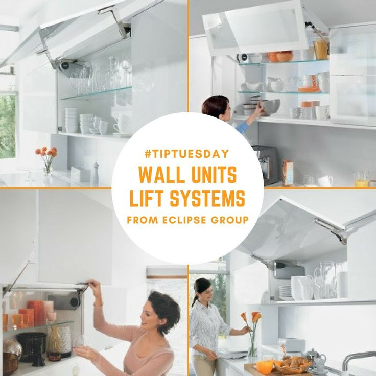 TipTuesday - Eclipse Groups' range of Blum Lift System These fittings offer a wealth of options for designing and using cabinet space. Bi-fold, Up-and-over, Parallel lift-up and Stay lifts.