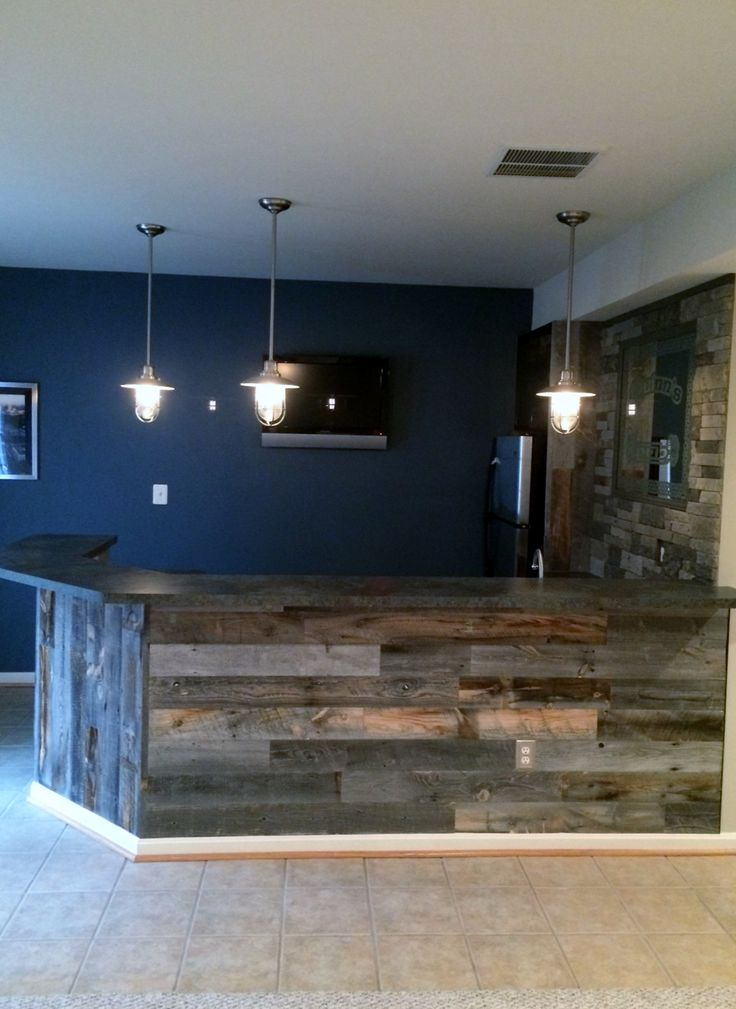Stikwood Reclaimed Weathered Wood I m in love  Maybe grey or red wall  color  Find this Pin and more on man cave bars  107 best man cave bars images on Pinterest   Basement bars  . Homemade Man Cave Bar. Home Design Ideas
