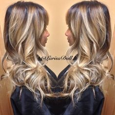 Dark warm brown base with full head of balayaged light golden beige blonde.