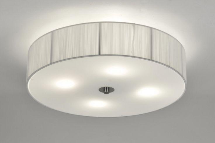 plafondlamp 71345: metaal, stof, glas, wit opaalglas, wit, rond ...