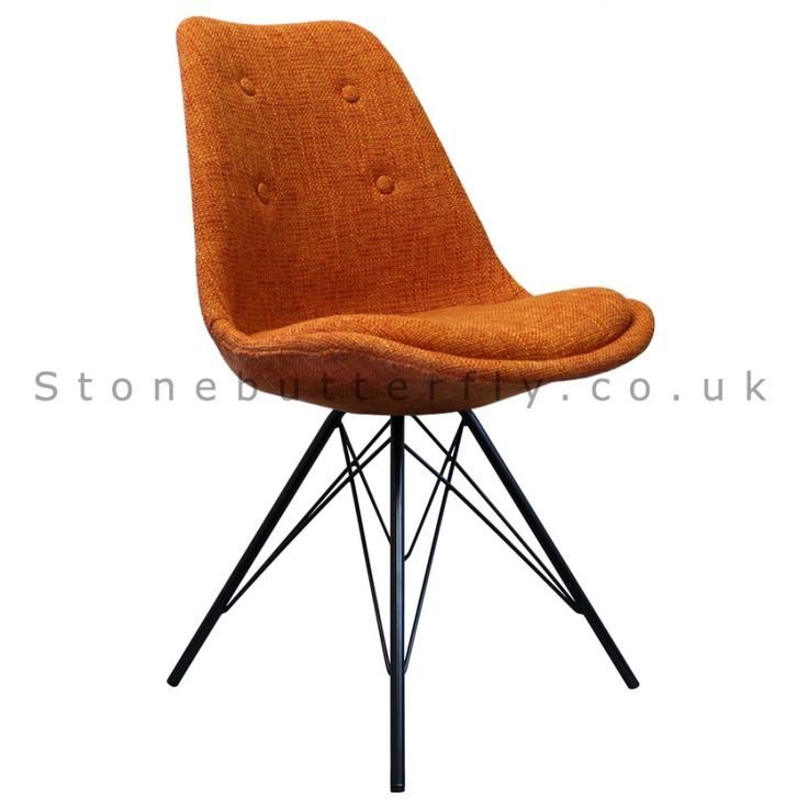 Charles Ray Eames Inspired I-DSR Side Chair Black Metal Legs - Orange Fabric