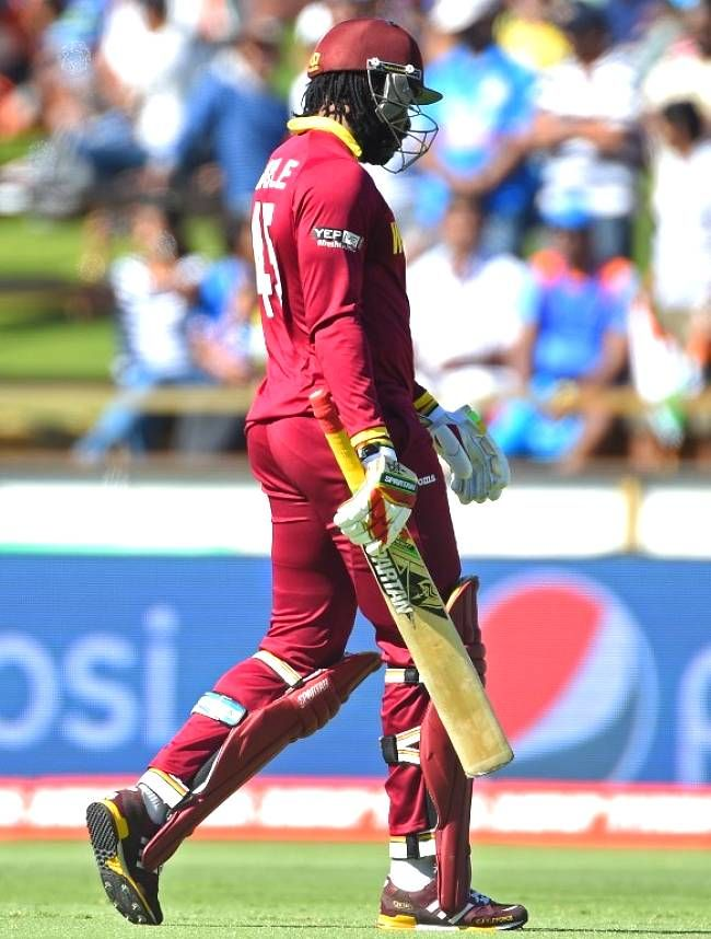 India vs West Indies, 28th Match, Pool B.Chris Gayle ran Samuels out with poor calling, then hit out for a while before perishing