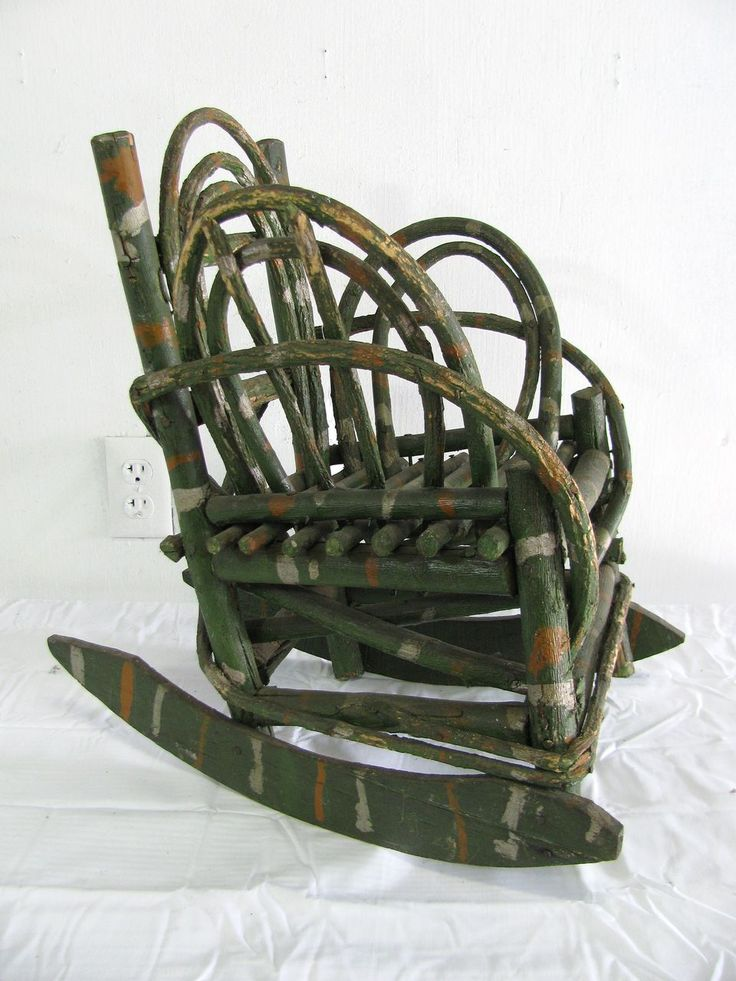 vintage folk art painted child s twig rocking chair rocking chairs ...