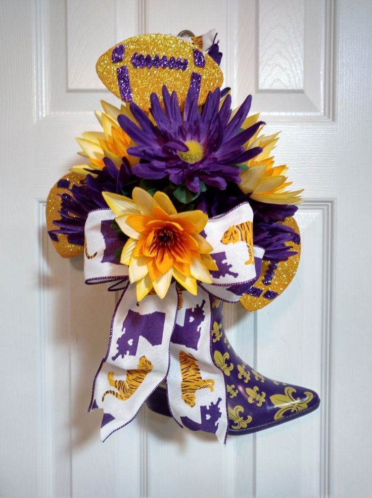 LSU Football Fleur De Lis Rubber Boot Arrangement or Door Wreath, Geaux Tigers, Mike the Tiger, Purple Gerbera Daisy, Yellow Gold Water Lily by BlessedwithBlooms on Etsy