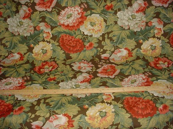 3-3/4 yards Titley & Marr Winchester - Vintage Beautiful Floral Luxury Linen Print Drapery Upholstery Fabric - Free Shipping