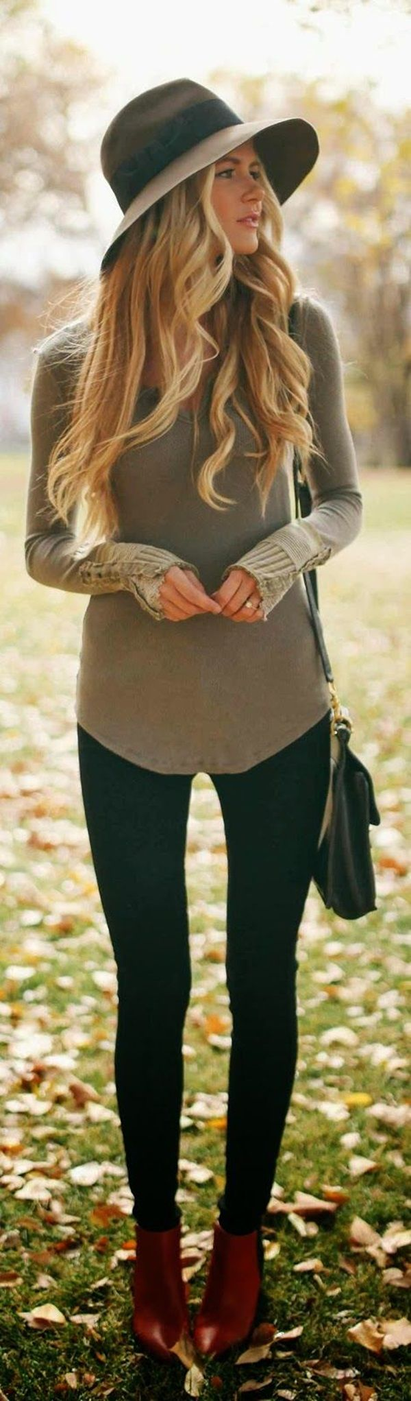 for fall... I am a big fan of black skinnies with long neutral colored sweaters and brown booties or boots.