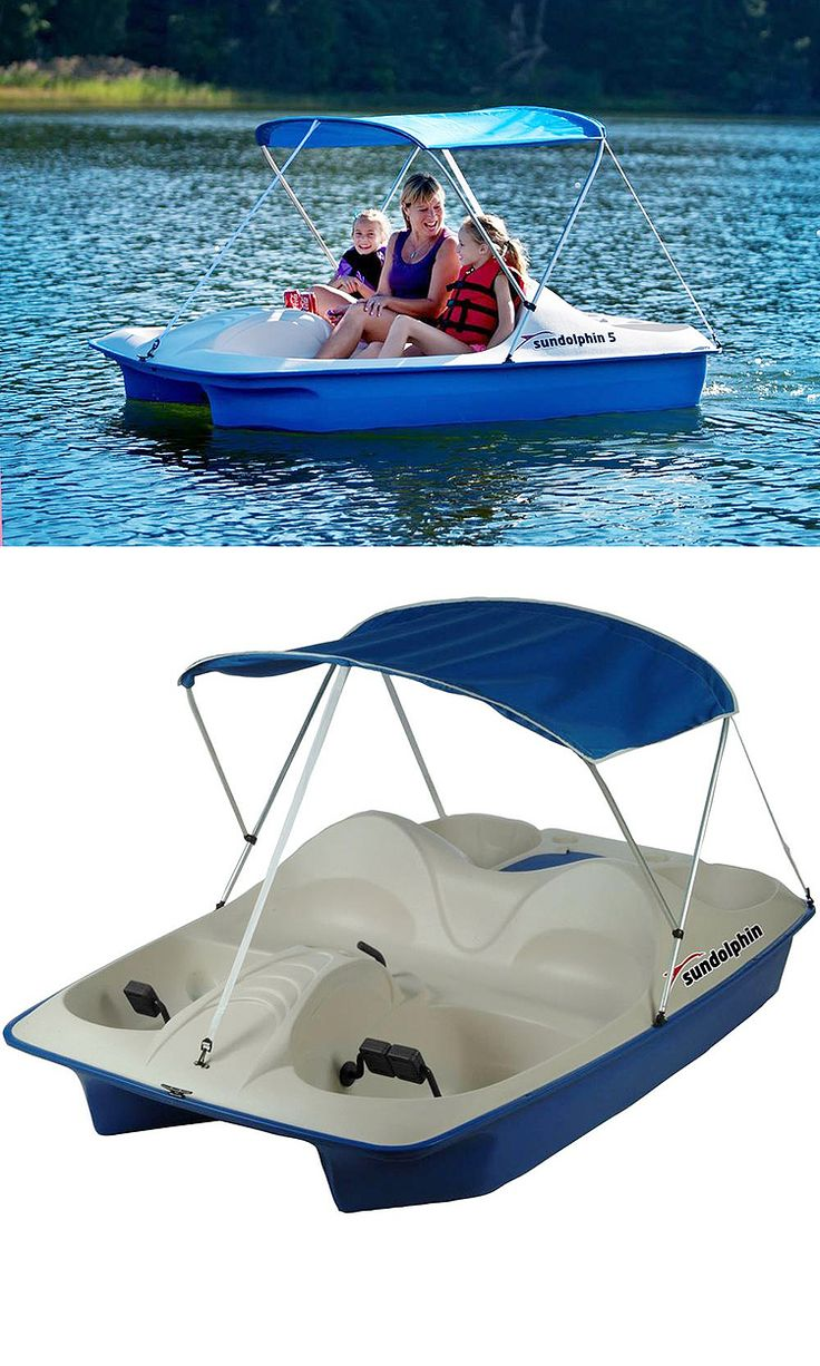 This 5-seat pedal boat offers comfortable, full-width seating and 3-position cranks for easy 1, 2 or 3-person operation. It has a sun canopy, to give you some shade when you're on the lake. The built-in cooler allows you to take along your favorite beverages, or use it to hold extra gear.