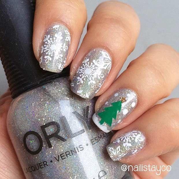 Pretty Snowflakes + Christmas Tree Accent Nail