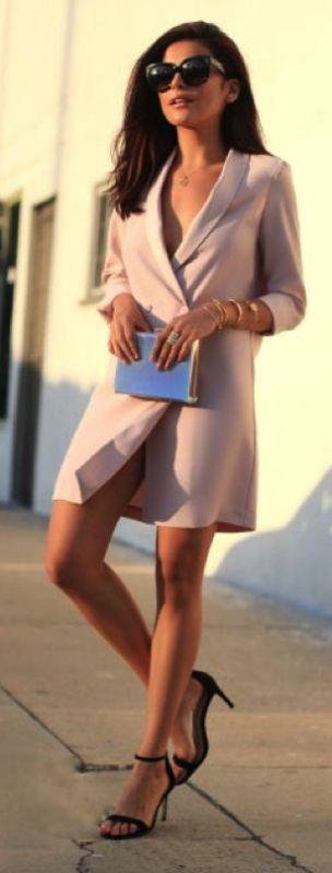 Sazan + elegance + chic pastel blazer dress + stylish clutch + simple heels + ultimate summer evening look.   Dress: Topshop, Heels: Asos, Bag: Just Fab