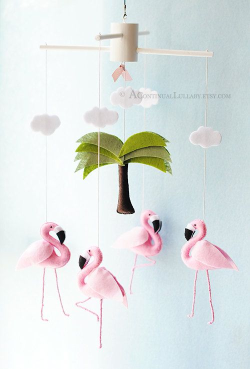 FLAMINGOS~Flamigo Mobile I would hang this over my bed so I can dream of the…