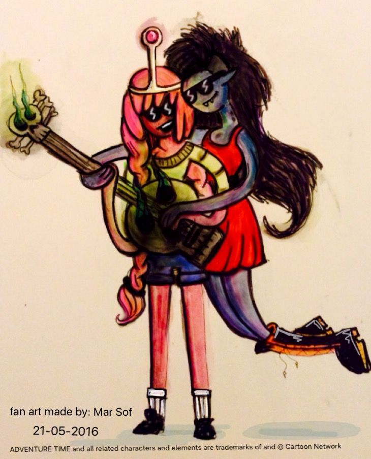 Title: marceline teaching bonnibell how to play guitar.  #adventuretime #marceline #princessbubblegum #bubblegum #bonnie #bonnibell #vampirequeen #guitar #fanart #drawing #art #adventure #time